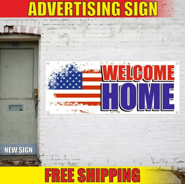 WELCOME HOME Banner Advertising Vinyl Sign Flag military army party decorations