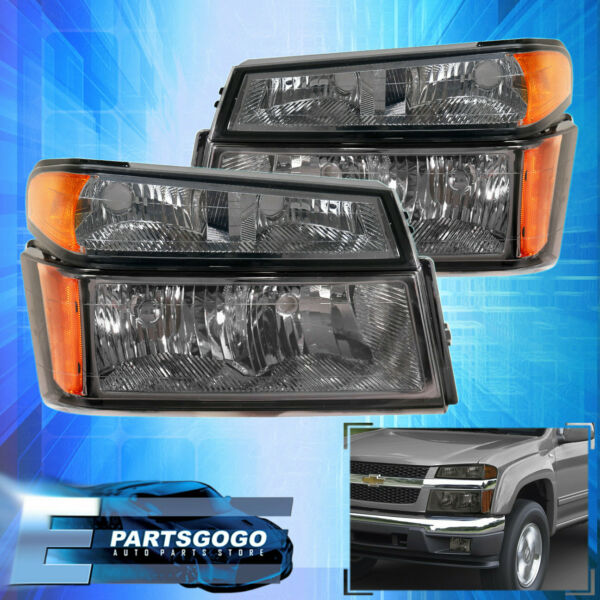For 04-12 Canyon Colorado Headlights + Bumper Lamps Assembly LH RH Smoked Lens