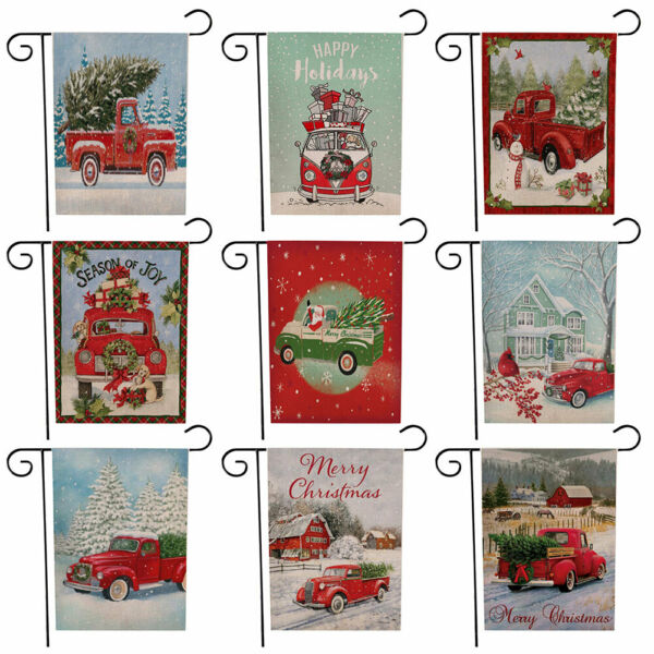 45 x 30cm Merry Christmas Truck with Gift Winter Garden Hanging Flag Party Decor