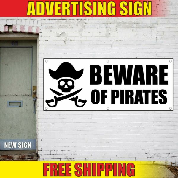 Beware of Pirates Banner Advertising Vinyl Sign Flag celebrate party decor event