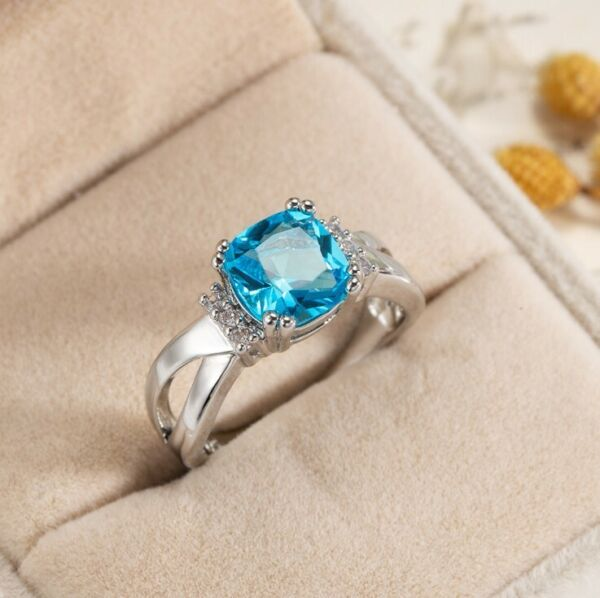Sparking Fire Square Ocean Blue Topaz Gems Silver Rings Size 6 10 Holiday Gifts