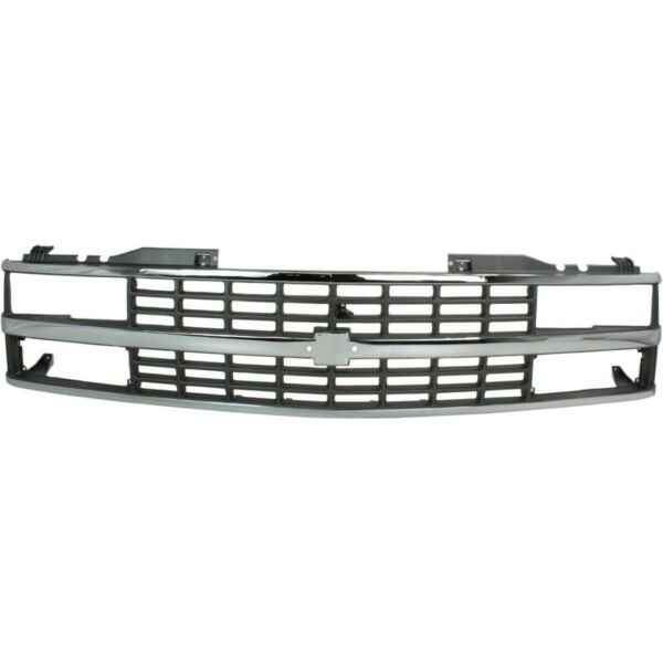 Grille For 1988 93 Chevy C K 1500 Chrome Shell With Black Insert Dual Headlight