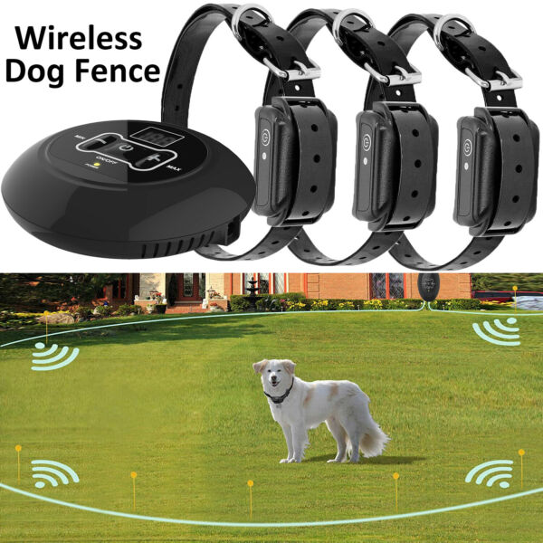 Wireless Electric Dog Fence Pet Containment System Shock Collars For 123 Dogs