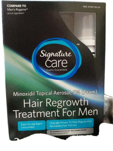 Signature Care Foam Minoxidil 5% Hair Regrowth Treatment for Men 3 Months Supply