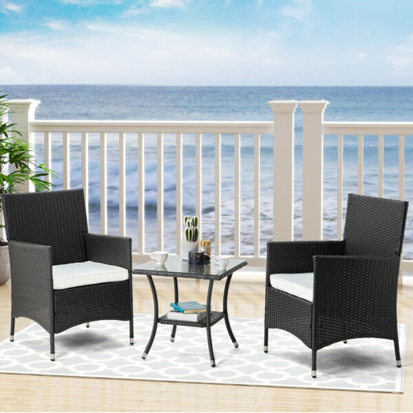 3 Piece Rattan Patio Wicker Rattan Outdoor Furniture Set W Table Chairs Set US