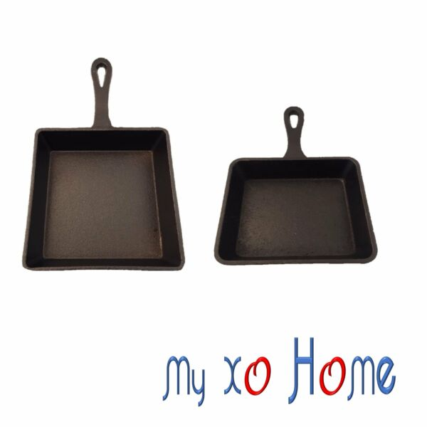 MyXOHome Rectangular Cast Iron Frying Pan Skillet w Handle Set of 2 1 Set