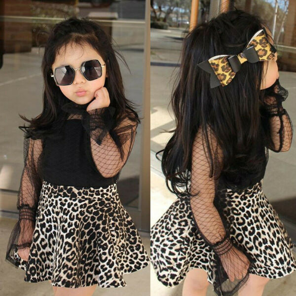 US Toddler Kids Baby Girls Clothes Tops T-shirt Lace Tutu Skirt Dress Outfit Set