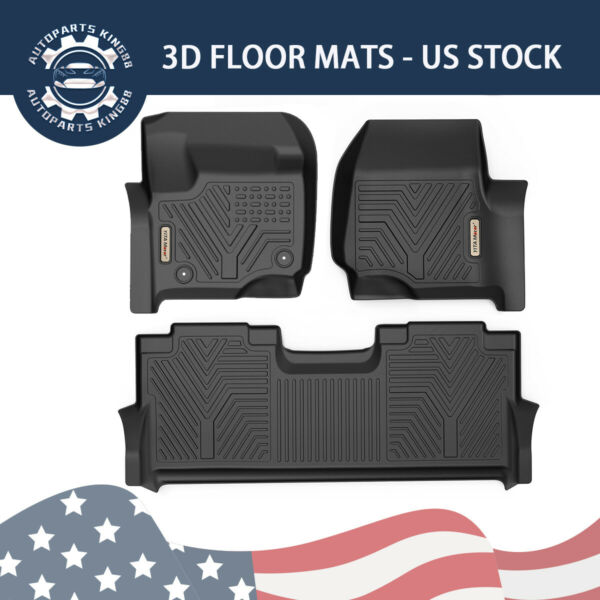 Floor Mats Liners For 2017-2019 Ford F-250F-350 Super Duty Crew Cab All Weather