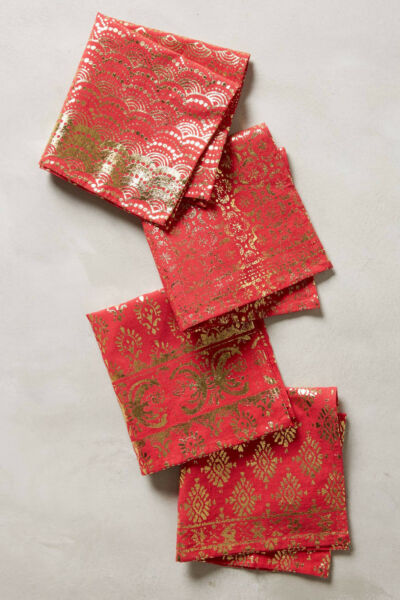 Anthropologie Arbor Floret 4 Cocktail Napkins Red & Gold Party Dinner Christmas