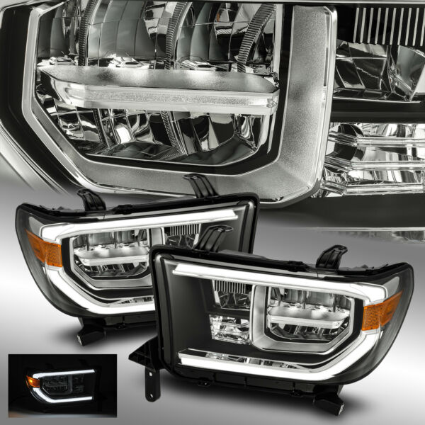 Fit 2007-2013 Toyota Tundra Full LED Sequoia Black Headlights Pair wLED DRL