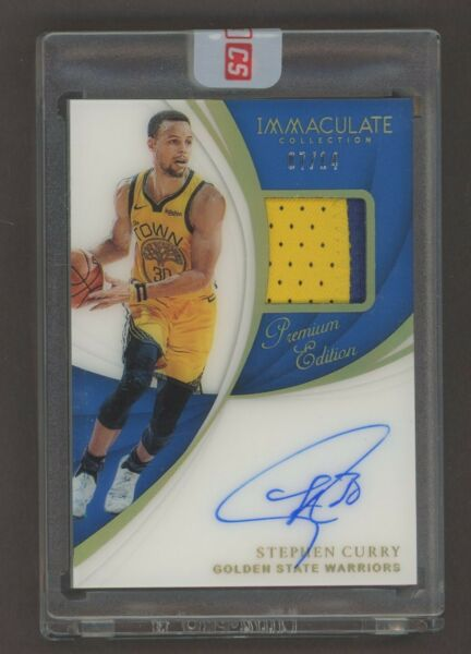2018-19 Immaculate Premium Edition Stephen Curry GU Logo Patch AUTO 714