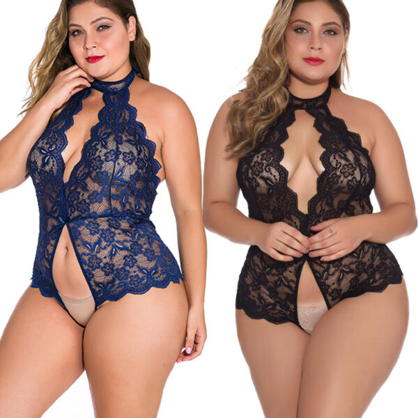 Plus Size Sexy Lingerie Lace One Piece Womens Teddy Crothless Bodysuit US FAST