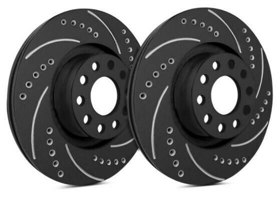 SP Front Rotors for 2017 X5 XDrive50i Drilled Slotted Black F06 409 BP1118