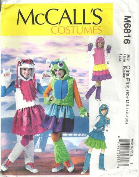 MCCALLS COSTUMES M6815 GIRL#x27;S 10½ 16½ MONSTER COSTUMES SEWING PATTERN $3.50