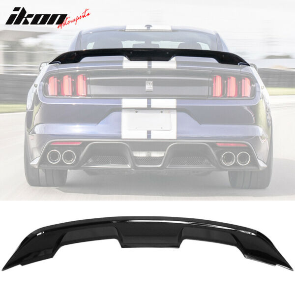 Fits 15-20 Ford Mustang Coupe GT500 Style Trunk Spoiler Wing Gloss Black - ABS