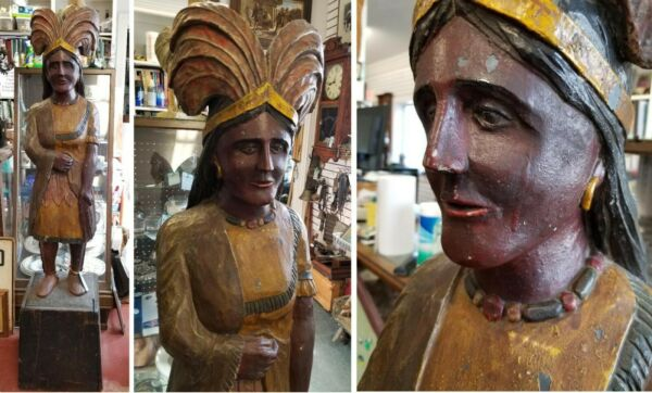 ANTIQUE NATIVE AMERICAN PRINCESS CIGAR STORE INDIAN NYC ORG PAINT HISTORY C-1880