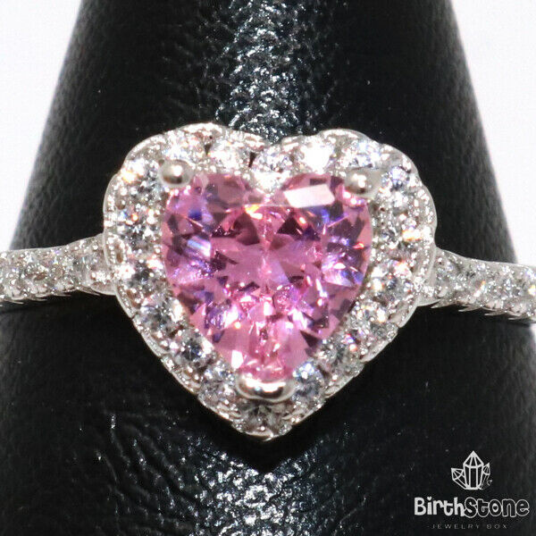 Heart Pink Sapphire Moissanite Engagement Ring Women Jewelry Gift Size 6 to 9