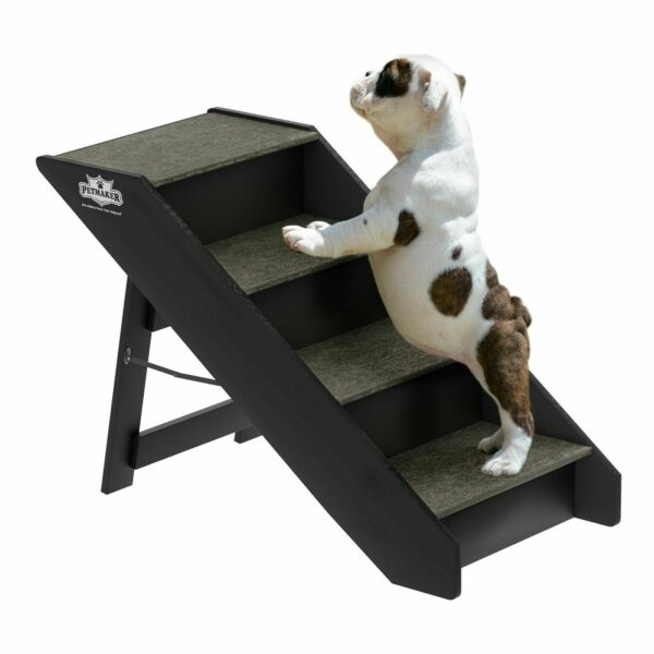 15 Inch Wide Foldable Wooden Pet Stairs 4 No Slide Steps 20 In High Up to 80 Lb $49.99