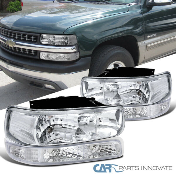 For 99-02 Silverado 00-06 Suburban Tahoe Clear Headlights+Bumper Signal Lamps