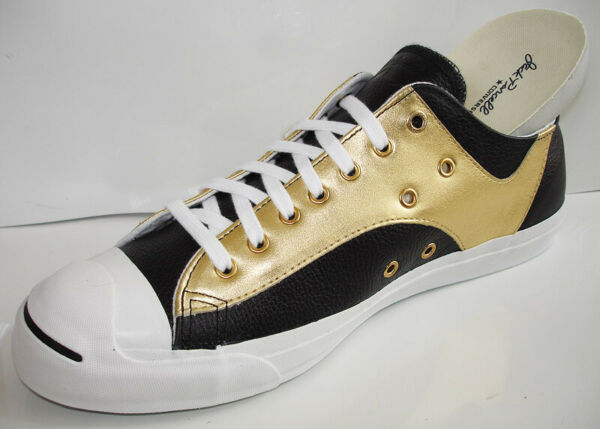 108421 Converse Jack Purcell Turf Rally Retro Black Gold Leather Low