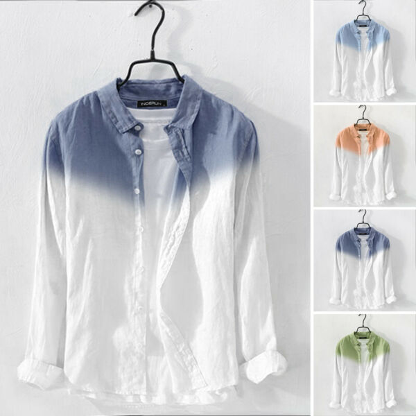 Men#x27;s Long Sleeve Linen Shirt Male Casual Slim Fit Button Down Shirts Top Blouse