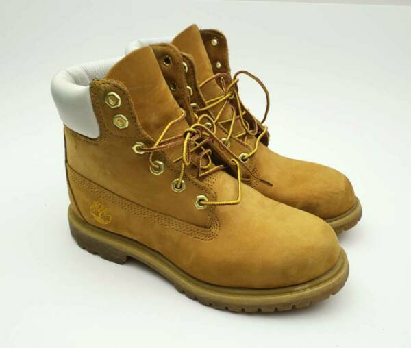 Timberland Womens Boots Wheat White Yellow Suede Leather Lace 6.5 W $79.95
