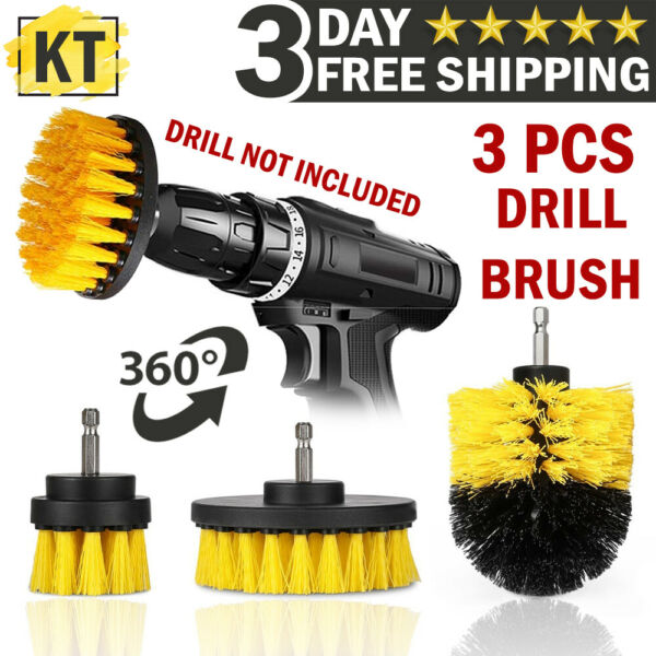 Drill Brush Set Power Scrubber Attachments For Car Carpet Tile Grout Cleaning