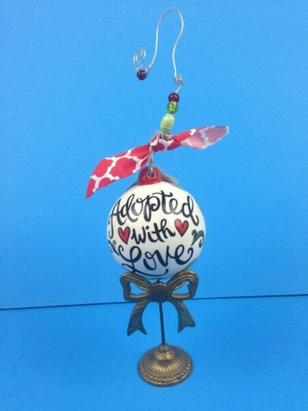 """Glory Haus Ceramic Porcelain Christmas Ball Ornament """"Adopted With Love"""""""