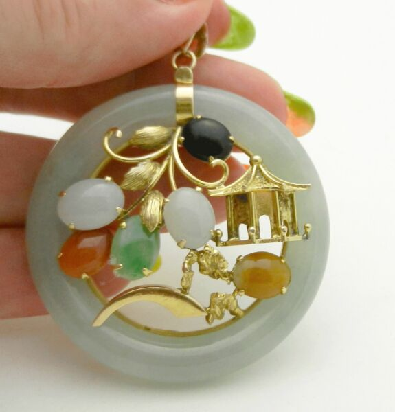 Huge 14K Solid Yellow Gold Multi-Colored Jade Pagoda Round Shape Pendant Charm