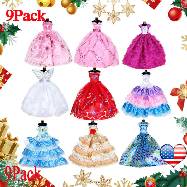 9PCS Doll Wedding Party Dress Princess Clothes Handmade Outfit for 12