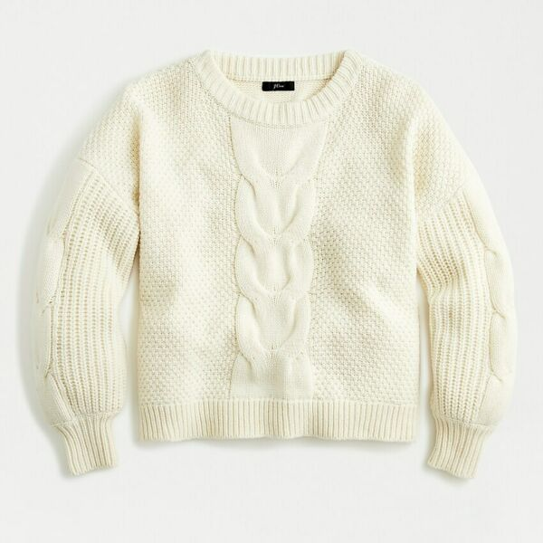 J.Crew Cable-knit balloon sleeve sweater Ivory Size XS