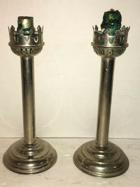 Two Early Antique Spring Loaded Silver Candle Sticks