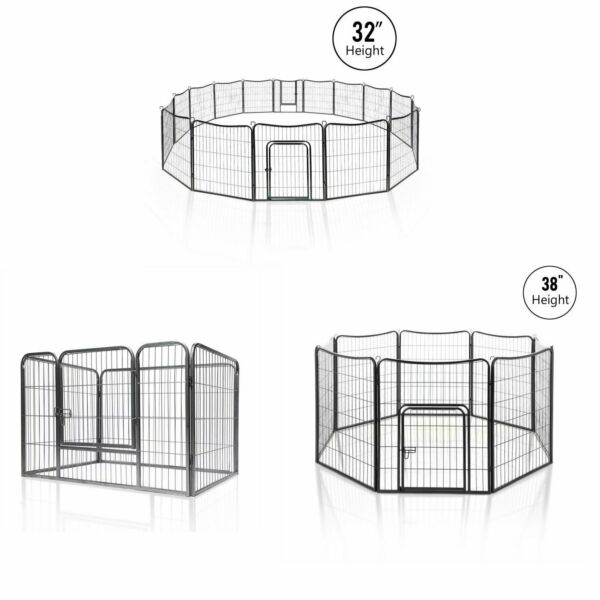 Dog Playpen 4-16 Pannels Fences Fordable Heavy Duty Metal Dog Playpen Have Door