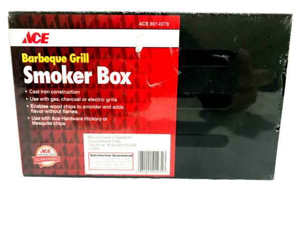 NEW ACE Cast Iron Barbeque Smoker Box Use with Gas Charcoal or Electric Grills