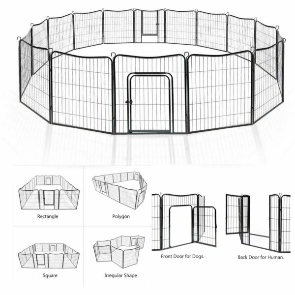 Dog Pet Playpen Heavy Duty Metal Exercise Fence Folding Kennel 4-16 Panel 28-38