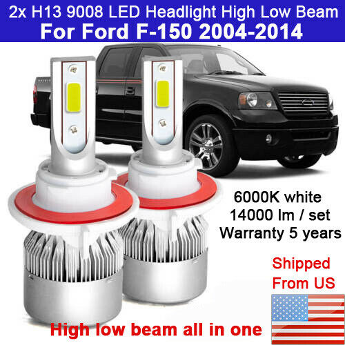 2X H13 Headlight For Ford F 150 2004 2014 High Low LED Bulb Combo 6000K white C1