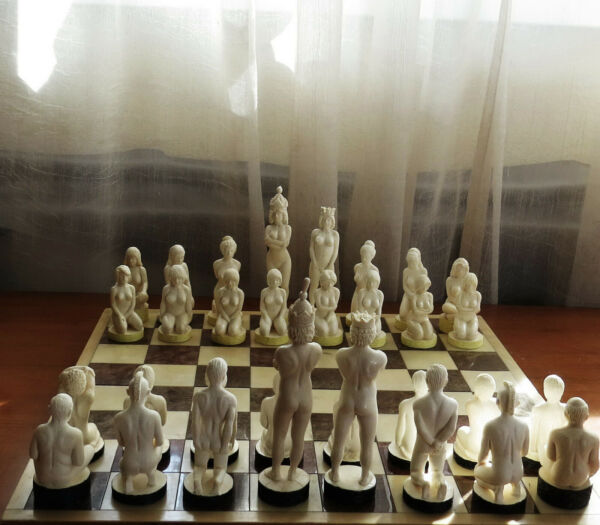 One of a kind chess set carved by Oleg Raikis. 32 unique pieces. 14.5 cm kings
