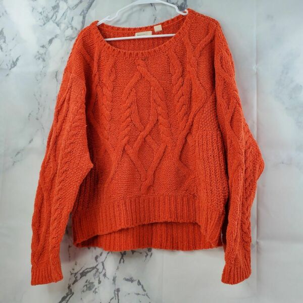 Anthropologie Sleeping On Snow Women Sz L Slouchy Chunky Cable Knit Sweater