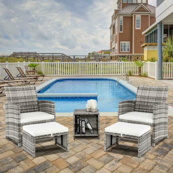 5PCS Outdoor Patio Furniture Rattan Wicker Sofa Set Tea Table Chairs Set Gray US $199.90