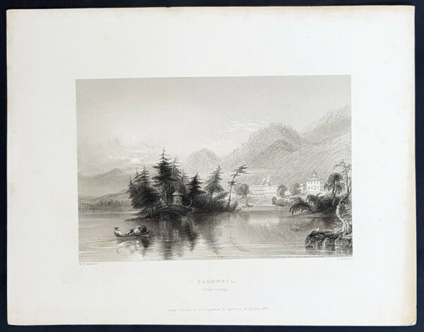 1840 William Bartlett Antique Print View of Lake George Caldwell New York