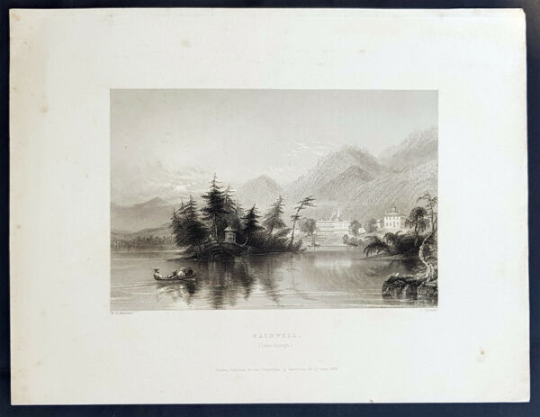 1840 William Bartlett Antique Print View of Caldwell or Lake George New York