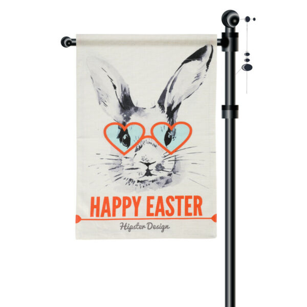 Happy Easter Garden Flag Vertical Double Sided 12.5 x 18 Inch Sping Burlap Yard