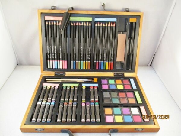 Watercolors Pencils Pastels & Other Kit for Artists Wood Box Coldwater Creek