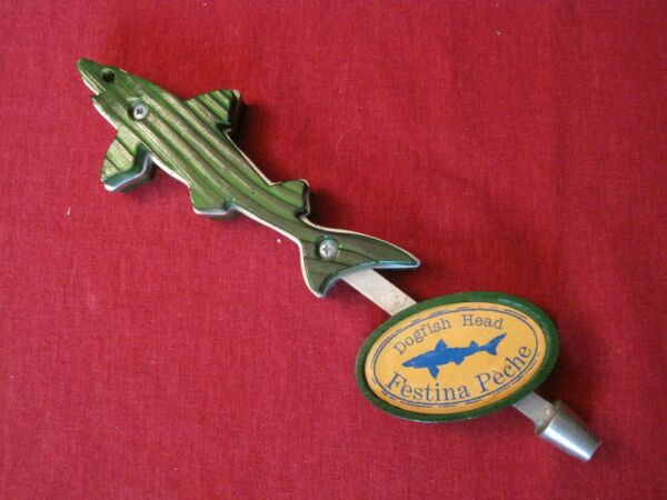 Original Dogfish Head Tap Handle Green Wood and Metal Festina Peche