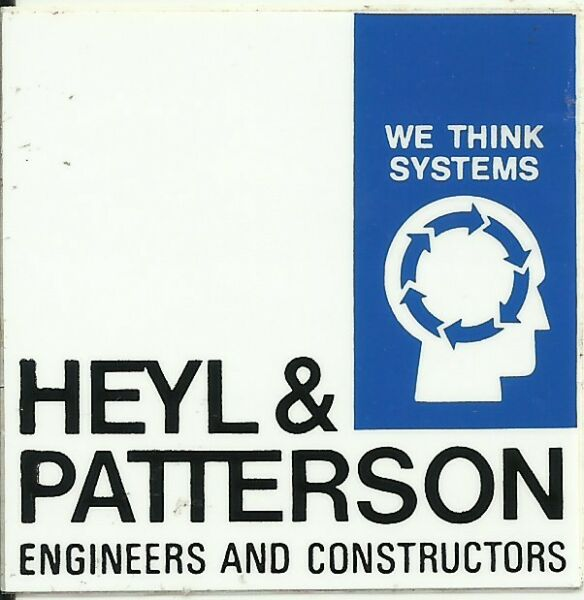 Heyl amp; Patterson Engineers amp; Constructors Vintage Unused Hard Hat Decal Sticker