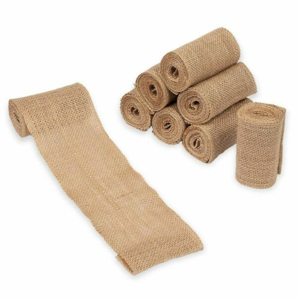 Burlap Fabric Roll 8 Pack 3.9quot; Brown Burlap Ribbon for Crafts 2 Yards Each