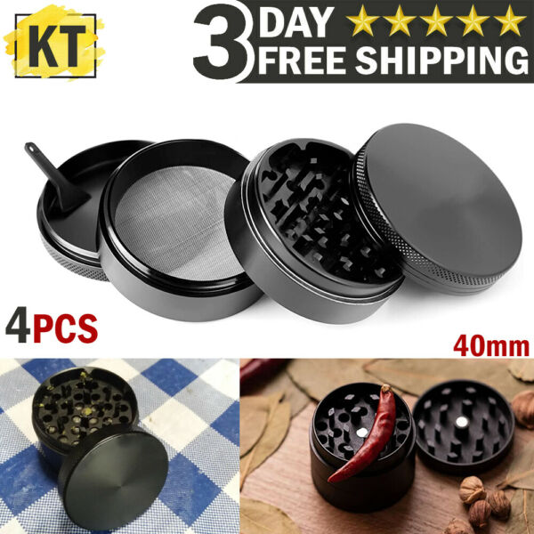 Tobacco Herb Grinder 4 Piece Metal Small Hand Crusher Mill Magnetic Top Black US