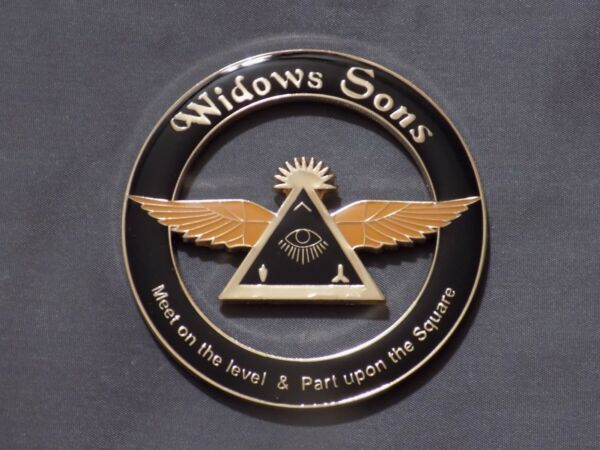 Masonic 3quot; Car Emblem Widows Sons Freemason Fraternity Metal Wings Eye NEW $12.69