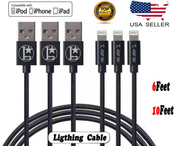 For iPhone 6 7 8 iPhone XS X 5S Lightning Cable Heavy Duty Charging Charger Cord