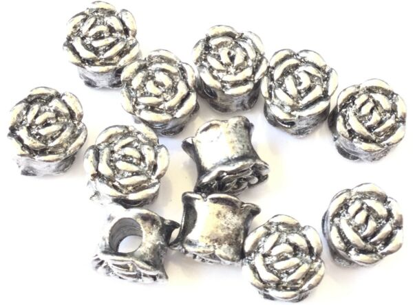 12 Big Hole Tibetan Antique Silver Beads Fancy Roase bud Metal 9mm $3.69